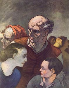 Honore Daumier, Family on the Barricades, 1848