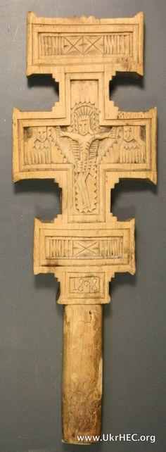 Folk-art hand cross from the Hutsul region of Ukraine. 1898.