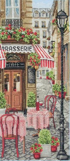 French City Scene http://www.sewandso.co.uk/Products/French-City-Scene-Cross-Stitch-Kit__ANC-PCE0813.aspx