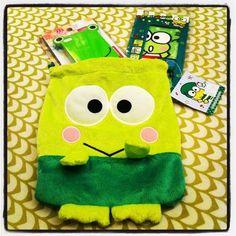 Fuzzy Keroppi drawstring bag & lense cleaner cloth