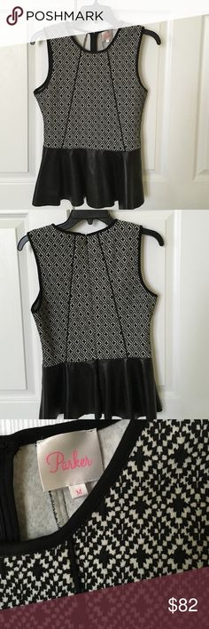Playful Parker Top✨ Beautiful black and white pattern Parker top with black leather peplum! Worn once! Parker Tops Camisoles