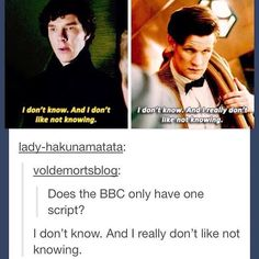 """I am so quoting this at school then seeing if people either say, """"Hey thats from Sherlock"""" or """"Hey thats from Doctor Who""""."""
