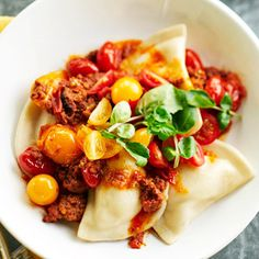 Pierogies with Meat Sauce From Better Homes and Gardens, ideas and improvement projects for your home and garden plus recipes and entertaining ideas.