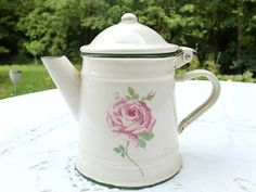 French vintage white enamel tea pot  coffee pot by froufrouretro, €28.00