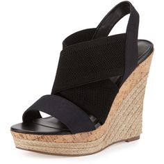 Charles By Charles David Allison Canvas Wedge Sandal ($55) ❤ liked on Polyvore featuring shoes, sandals, heels, wedges, black, strappy sandals, strappy heel sandals, black wedge shoes, black heel sandals and platform sandals