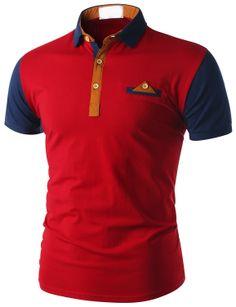 Doublju Men's Short Sleeve Pocket Polo Shirt (CMTTS015) #doublju Camisa Polo, Polo T Shirts, Golf Shirts, Polo Shirt Design, Moda Formal, Stylish Mens Outfits, Mens Tees, Custom Shirts, Shirt Style