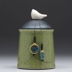 Ceramic jar with Bird olive green pottery jar , home decor,Little Clay Bird on Jar, #raku fired art pottery  Davis Vachon