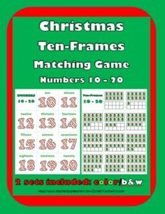 Christmas Ten-Frames Matching (Numbers 10-20)   2 sets: color and b+w