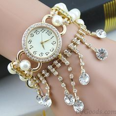 Cheap Nice Pearl Beaded Diamond Chain Tassel Bracelet Watch For Big Sale! Stylish Watches For Girls, Tassel Bracelet, Bracelets, Apple Watch Bands Fashion, Fancy Watches, Latest Watches, Beaded Watches, Ladies Bracelet Watch, Gold Apple Watch