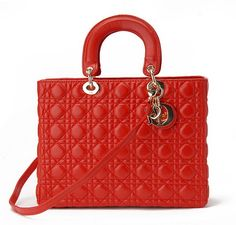 Large Lady Dior bag in red lambskin 8c0aea00e1077