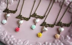 Love charm Bridesmaid gift Loving heart rose flower necklace by missvirgouk