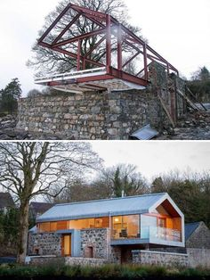 Decorative Rocks Ideas : Description Renovated Stone Barn House With Plenty of Modern Elements Decorative Rocks Ideas : Description Renovated Stone Barn House With Plenty of Modern Elements Stone Barns, Stone Houses, Modern Barn House, Modern House Design, Casas Containers, Earthship, Woodworking Plans, Woodworking Crafts, Building A House