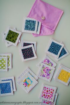 """Fabric scrap matching game - Do it the fastest way, zig-zag applique all the """"matches"""" to the solid before cutting, then zig-zag around them onto the background in a grid, leaving space between for more cutting. Cut with pinking shears."""