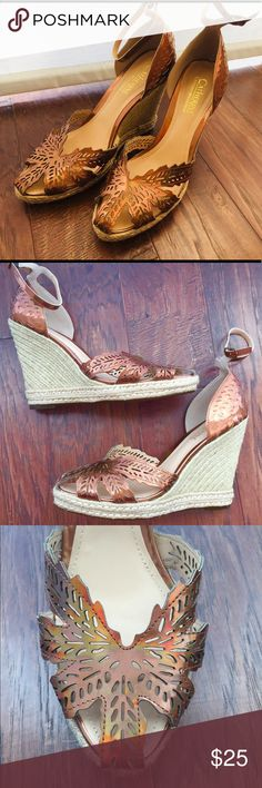 """Catherine Malandrino amber heels Catherine Malandrino rich-amber heels. Size: 10. Worn once, very briefly. 5"""" heels. There is sticker residue on bottom of both heels. Adjustable ankle straps. Catherine Malandrino Shoes Espadrilles"""