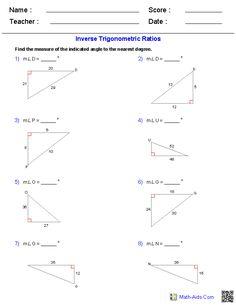 38 Best Trigonometry Worksheets images | Trigonometry ...
