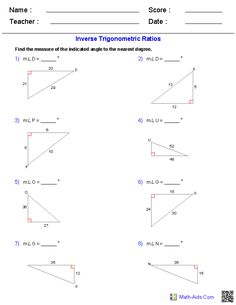 Printables Trigonometry Practice Worksheets trigonometry worksheets and algebra on pinterest inverse trigonometric ratios worksheets