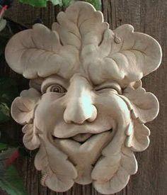Merveilleux Cast Stone Gatekeeper, Ladybug, Leaf Face Plaque, Concrete Sculpture