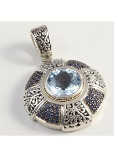 Cydonia 925 Sterling Silver and 18K Gold Blue Topaz and Sapphire Pendant in 2011 from Cydonia