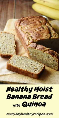 This deliciously moist banana bread recipe with quinoa is nutritious, full of protein, easy to make and bursting with banana flavour. It makes a great healthy breakfast option, picnic food, easy lunchbox idea as well as snack anytime. Flours Banana Bread, Healthy Banana Bread, Banana Bread Recipes, Banana Quinoa Recipes, Healthy Cake, Healthy Sweets, Healthy Baking, Eating Healthy, Ripped Recipes