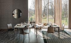 Consolle Nemo, design by Paolo Cattelan per Cattelan Italia, tavolo rettangolare allungabile con struttura in acciaio e piano regolabile in legno.