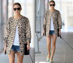Olivia ~ leopard jacket & cutoffs