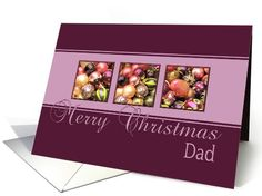 Dad - Merry Christmas, purple colored ornaments card