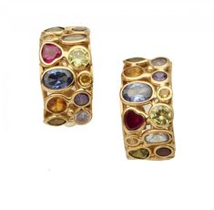 A PAIR OF MULTI GEM SET GOLD EARRINGS  11 x 21mm, marked 750, 12.5g  Sold @ Mellors & Kirk