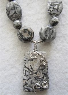 Black & Gray Crazy Lace Pendant and Necklace Set - pinned by pin4etsy.com