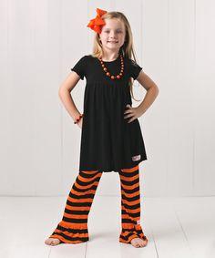 Look at this RuffleGirl Black Flutter-Sleeve Dress Set - Infant, Toddler & Girls on #zulily today!
