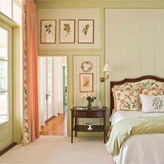 Love all of it. Esp the vintage floral prints above the door. Not to mention the perfect monogrammed pillow