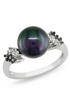 Michiko - 0.12 ct Diamond and Licorice Pearl Ring in Silver