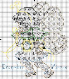 Toddler Birthstone Fairy December Zircon Free Cross Stitch Pattern 2/5