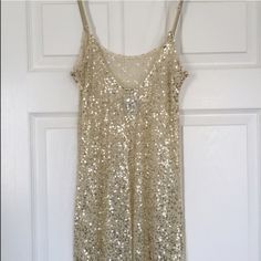 Free People Gold Sequin Dress w Low Back XS gold sequin slip dress from free people, spaghetti strap. Mini dress Free People Dresses Mini