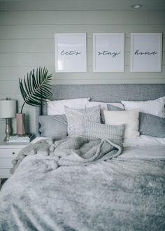 grey, white, cozy, coastal shiplap bedroom decor @prettyinthepines