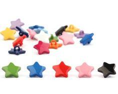 Kinderknopf STARS, glänzende Sterne, 12 Farben