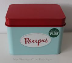 Metal Recipes Tin Storage Container With Dividers Retro Vintage Style