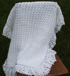 Crochet Baby Afghan WhiteChristening by CherylsVillageKnits