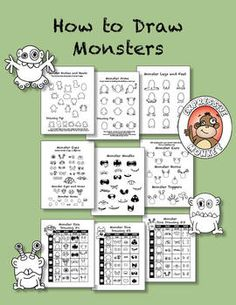 HOW TO DRAW MONSTERS - 6 drawing pages and 3 dice drawing sheets by Expressive Monkey.