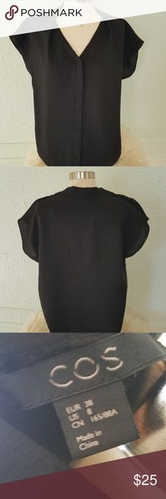 COS Black V- Neck Button Down Blouse Size 8 NWOT COS Black Button Down Blouse Size 8 NWOT V-Neckline Hidden buttons COS Tops Blouses