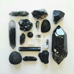 Black smoky quartz and tourmaline crystals Crystals Minerals, Rocks And Minerals, Crystals And Gemstones, Stones And Crystals, Grounding Crystals, Gem Stones, Crystal Magic, Crystal Grid, Crystal Healing