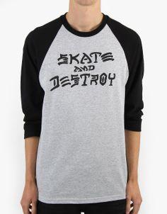 Thrasher Skate and Destroy Raglan T-Shirt - Heather Grey Black d7aaef5513608