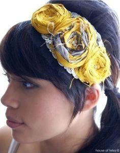 fabric flower headband - wonder if A will rip this off too? Fabric Flower Headbands, Making Fabric Flowers, Cute Headbands, Diy Headband, Homemade Headbands, Rosette Headband, Fabric Bows, Diy Hair Accessories, Fashion Accessories