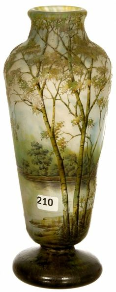 "11"" SIGNED DAUM NANCY FRENCH CAMEO ART GLASS PEDESTAL VASE, SPRING SEASON LAKE DECOR"