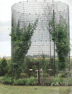 Wire silo as garden enclosure