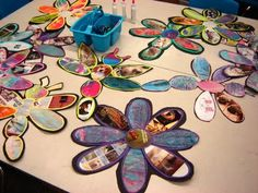 Earth Day 2015 - recycled magazines/painted paper from For the Love of Art: Grade Recycled Art Projects, Recycled Crafts, Recycled Materials, Spring Art, Spring Crafts, 3rd Grade Art, Grade 3, Crafts For Kids, Arts And Crafts