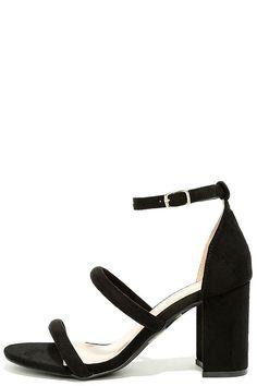 #AdoreWe #Lulus Footware - Designer Shoe Republic LA In the Now Black Suede Ankle Strap Heels - AdoreWe.com