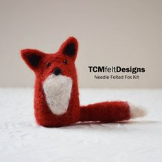 Needle Felting Kit Fox wool DIY complete fiber por TCMfeltDesigns