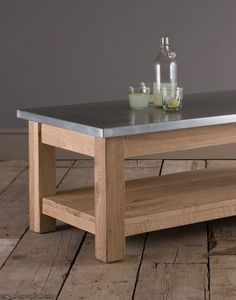 Brighten and freshen your living space, resistant zinc sits atop this solid Oak coffee table. #coffeetable #zinc #oak #solidwood #indigofurniture