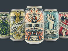 The Brandit and EBBING Branding + Design teamed up to create this propaganda-inspired craft beer packaging for Unlawful Assembly Brewing Company, a Texas-based brewery. - These Cans Are One Part Rock & Roll and One Part Craft Beer Propaganda Craft Beer Brands, Craft Beer Labels, Wine Labels, Food Packaging Design, Bottle Packaging, Coffee Packaging, Rock And Roll, Brewery Design, Beer Label Design