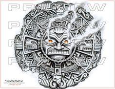 amazing prehispanic sun tattoo design